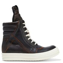 RICK OWENS Rubber Sole Plain Leather Low-Top Sneakers