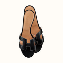 HERMES Open Toe Casual Style Street Style Plain Leather Party Style