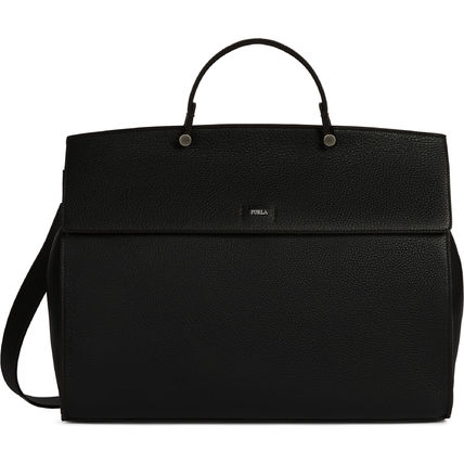 FURLA A4 2WAY Plain Leather Logo Business & Briefcases