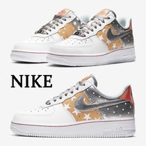 Nike AIR FORCE 1 Star Dots Round Toe Rubber Sole Lace-up Casual Style Unisex