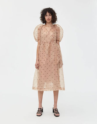 Wrap Dresses Party Style Puff Sleeves Dresses