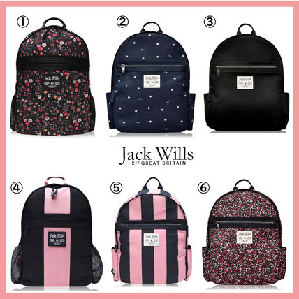 Flower Patterns Casual Style Office Style Logo Backpacks