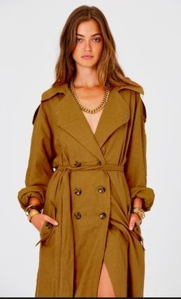Casual Style Plain Long Dark Brown Trench Coats