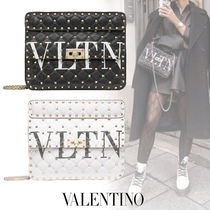 VALENTINO VLTN Casual Style Studded Leather Party Style Elegant Style