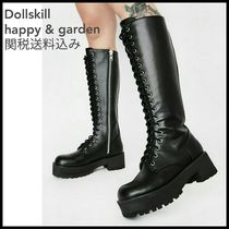 DOLLS KILL Platform Round Toe Lace-up Casual Style Faux Fur Plain