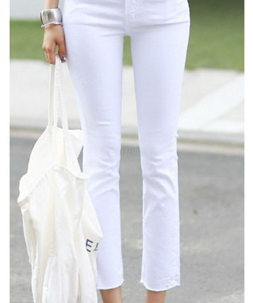 Casual Style Plain Medium Skinny Pants