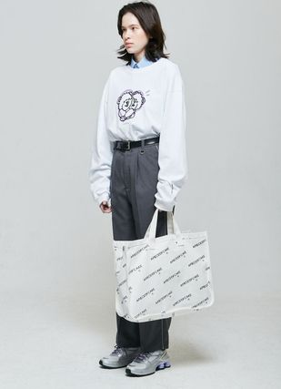 Unisex Street Style A4 2WAY Plain Totes