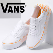 VANS OLD SKOOL Other Plaid Patterns Platform Plain Toe Lace-up Casual Style