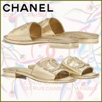 CHANEL Open Toe Platform Casual Style Plain Leather Mules Logo