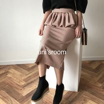 Pencil Skirts Dots Casual Style Plain Medium Party Style