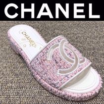 CHANEL ICON Open Toe Casual Style Tweed Blended Fabrics Street Style