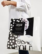 VERSACE JEANS Dots Casual Style A4 Elegant Style Logo Totes