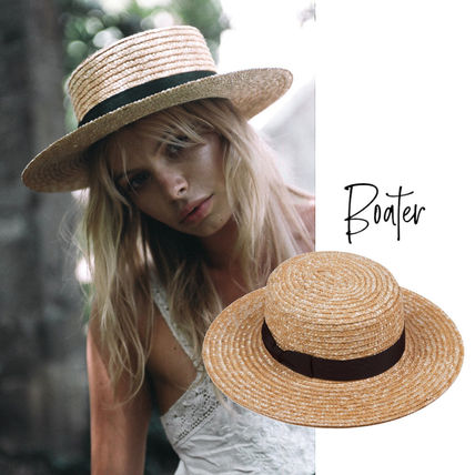 lack of color Unisex Straw Boaters Felt Hats Straw Hats