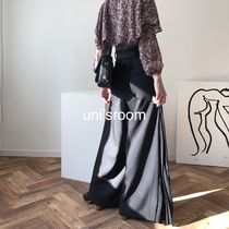 Casual Style Blended Fabrics Bi-color Plain Long Party Style