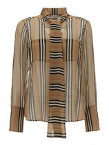 Burberry Stripes Casual Style Silk Long Sleeves Elegant Style Logo