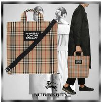 Burberry Tartan Other Plaid Patterns Casual Style Unisex Canvas Logo
