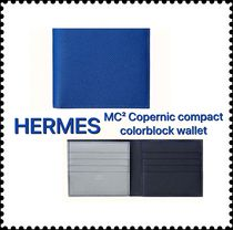 HERMES Unisex Street Style Leather Folding Wallet Bridal