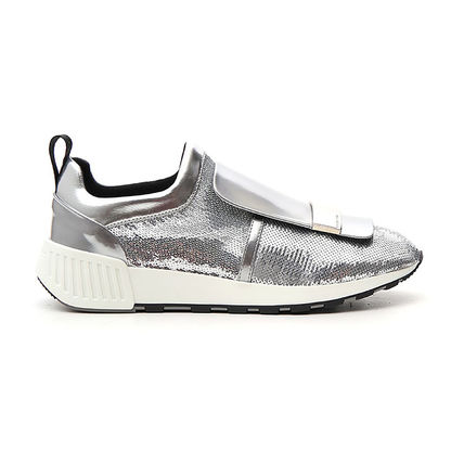Casual Style Elegant Style Glitter Low-Top Sneakers