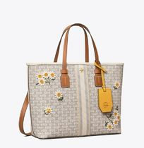 Tory Burch GEMINI LINK Flower Patterns Casual Style 2WAY Leather Office Style