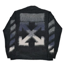 Off-White Crew Neck Wool Blended Fabrics Street Style Long Sleeves