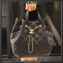 CHANEL ICON Casual Style Lambskin 3WAY Chain Plain Leather Party Style