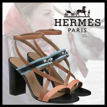 HERMES Open Toe Leather Elegant Style Chunky Heels Logo