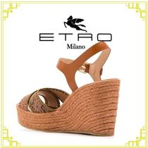 ETRO Paisley Open Toe Rubber Sole Casual Style Leather