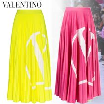 VALENTINO Casual Style Pleated Skirts Long Party Style Elegant Style