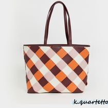 Warehouse Other Plaid Patterns Casual Style Faux Fur Totes