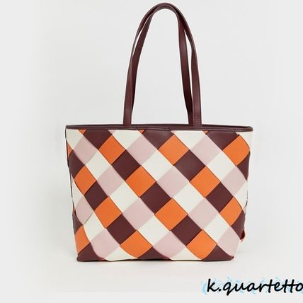 Other Plaid Patterns Casual Style Faux Fur Totes