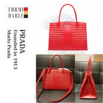 PRADA DIAGRAMME Casual Style Calfskin 2WAY Plain Leather Party Style