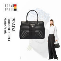 PRADA DIAGRAMME Casual Style Calfskin Plain Leather Party Style Office Style