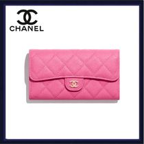 CHANEL Calfskin Street Style Bridal Logo Long Wallets