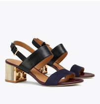 Tory Burch GIGI Casual Style Suede Plain Leather Block Heels Party Style