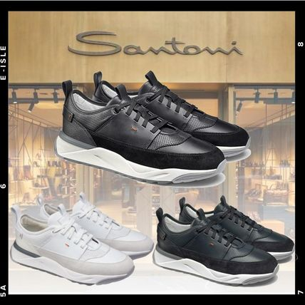 Suede Plain Leather Logo Sneakers