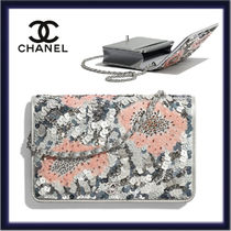 CHANEL CHAIN WALLET Flower Patterns Casual Style 2WAY Chain Party Style