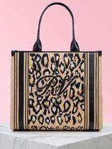 Roger Vivier Leopard Patterns Casual Style Elegant Style Logo Totes