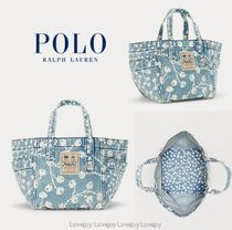 POLO RALPH LAUREN Flower Patterns Casual Style Denim Elegant Style Logo Totes