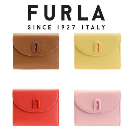 Unisex Plain Leather Folding Wallet Small Wallet Logo