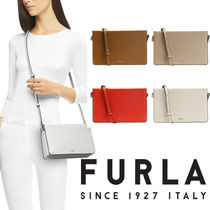 FURLA Casual Style Vanity Bags Plain Leather Party Style