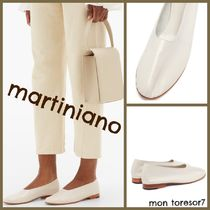 MARTINIANO Round Toe Casual Style Plain Leather Block Heels Handmade