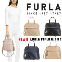 FURLA PIPER Casual Style Vanity Bags 2WAY Plain Leather Party Style