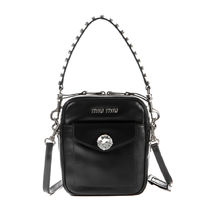 MiuMiu Casual Style Leather Party Style Office Style Elegant Style