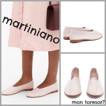 MARTINIANO Round Toe Casual Style Plain Leather Block Heels