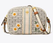 Tory Burch GEMINI LINK Flower Patterns Casual Style Canvas Street Style Party Style