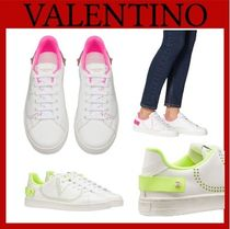 VALENTINO Rubber Sole Casual Style Studded Street Style Leather Logo
