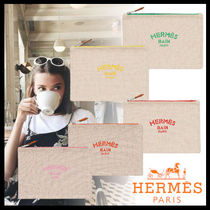 HERMES Yachting Plain Logo Pouches & Cosmetic Bags