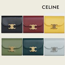 CELINE Flap Calfskin Lambskin Plain Small Wallet Logo Accessories