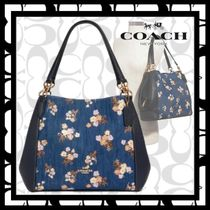 Coach Flower Patterns Denim Leather Office Style Elegant Style