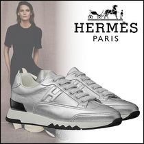 HERMES Round Toe Lace-up Casual Style Street Style Plain Leather